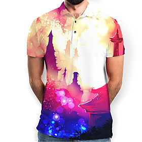 Men's Graphic Polo Basic Elegant Daily Going out Rainbow