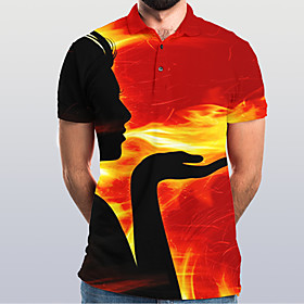Men's Graphic Flame Polo Basic Elegant Daily Going out Rainbow