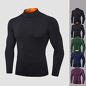 Men's Running Shirt Solid Color Black / Orange Black Purple Green Dark Blue Elastane Yoga Running Fitness Tee / T-shirt Long Sleeve Sport Activewear Breathable