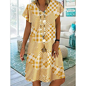 Women's A-Line Dress Knee Length Dress - Short Sleeves Geometric Summer Elegant 2020 Yellow Gray S M L XL XXL XXXL XXXXL XXXXXL