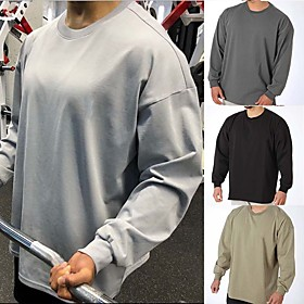 Men's Cotton Workout Tops Running Shirt Winter Round Neck Active Training Fitness Jogging Breathable Moisture Wicking Soft Sportswear Top Long Sleeve Activewea