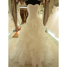 Mermaid / Trumpet Wedding Dresses Sweetheart Neckline Court Train Organza Sleeveless Formal with Ruched Cascading Ruffles 2020