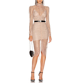 Sheath / Column Glittering Cut Out Party Wear Cocktail Party Dress High Neck Long Sleeve Asymmetrical Tulle with Sequin 2020