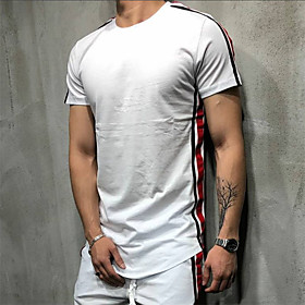 Men's Side-Stripe Cotton Running T-Shirt Workout Shirt Round Neck Active Training Fitness Jogging Breathable Moisture Wicking Soft Sportswear Stripes Tee / T-s