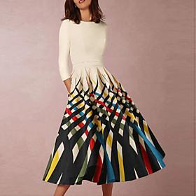 A-Line Elegant Minimalist Wedding Guest Cocktail Party Dress Jewel Neck Half Sleeve Knee Length Taffeta Spandex with Pattern / Print 2020