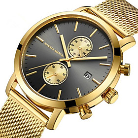 Men's Steel Band Watches Quartz Stylish Stainless Steel Black / Blue / Gold 30 m Water Resistant / Waterproof Calendar / date / day Chronograph Analog Casual -