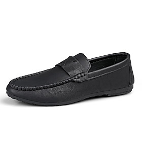 Men's Summer / Fall Classic / British Daily Office  Career Loafers  Slip-Ons Walking Shoes Nappa Leather Black / Brown