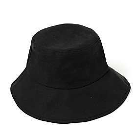Men's Bucket Hat Polyester Basic - Color Block Fall Black