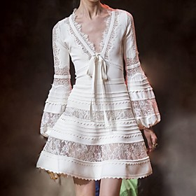 A-Line Cut Out Boho Party Wear Cocktail Party Dress V Neck Long Sleeve Short / Mini Cotton with Lace Insert 2020