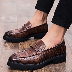 Men's Loafers  Slip-Ons Classic Daily PU Black / Brown Summer