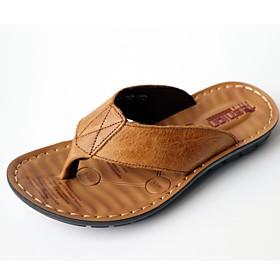 Men's Summer Outdoor Slippers  Flip-Flops PU Non-slipping Black / Khaki / Brown