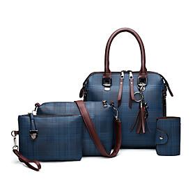 Women's Chain PU Bag Set Lattice 4 Pieces Purse Set Black / Blue / Red