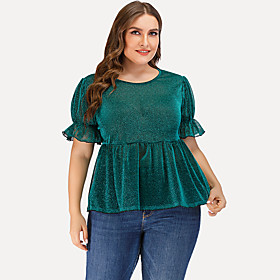 Women's Daily Plus Size Blouse Solid Colored Plain Ruffle Short Sleeve Tops Basic Green / Going out