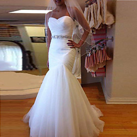 Mermaid / Trumpet Wedding Dresses Sweetheart Neckline Court Train Tulle Strapless Formal Sparkle  Shine with Ruched Crystals 2020