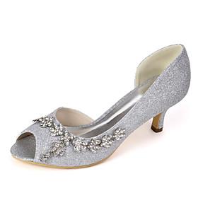 Women's Wedding Shoes Spring  Summer Low Heel Peep Toe Minimalism Wedding Party  Evening Rhinestone / Sparkling Glitter Solid Colored Synthetics White / Light
