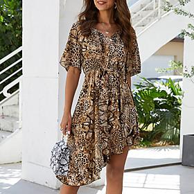Women's A-Line Dress Short Mini Dress - Half Sleeve Geometric Summer V Neck Streetwear Mesh Brown S M L XL