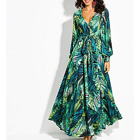 Women's Swing Dress Maxi long Dress - Long Sleeve Floral Deep V Purple Green S M L XL XXL 3XL