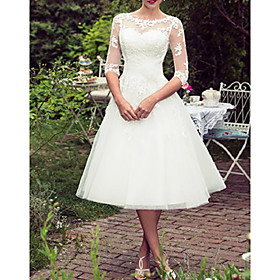 A-Line Wedding Dresses Jewel Neck Tea Length Lace Tulle Half Sleeve Vintage Sexy Wedding Dress in Color with Embroidery Appliques 2020