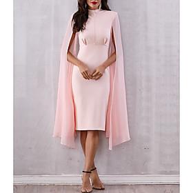 Mermaid / Trumpet Elegant Minimalist Party Wear Cocktail Party Dress High Neck Long Sleeve Knee Length Nylon with Split 2020
