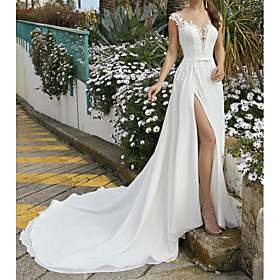 A-Line Wedding Dresses V Neck Sweep / Brush Train Chiffon Lace Sleeveless Beach Sexy with Sashes / Ribbons Split Front 2020