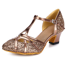 Women's Latin Shoes / Modern Shoes / Salsa Shoes Synthetics Buckle Heel Buckle Cuban Heel Customizable Dance Shoes Black / Bronze / Gold