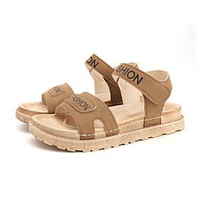 Women's Sandals Flat Sandal Summer Flat Heel Open Toe Casual Daily PU Black / Khaki / Beige