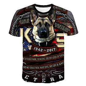 Men's 3D Animal Dog Print T-shirt Street chic Punk  Gothic Club Weekend Round Neck Rainbow / Short Sleeve / Letter