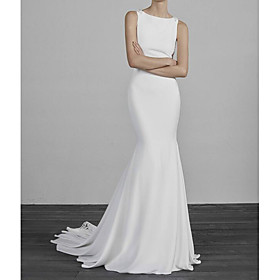 Mermaid / Trumpet Wedding Dresses Jewel Neck Sweep / Brush Train Lace Satin Sleeveless Simple Sexy See-Through with Pearls Embroidery 2020