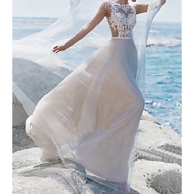 A-Line Wedding Dresses Jewel Neck Sweep / Brush Train Lace Tulle Short Sleeve Beach Sexy See-Through with Sashes / Ribbons Embroidery 2020