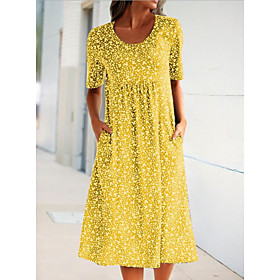 Women's Maxi Sheath Dress - Short Sleeves Floral Summer Elegant Slim 2020 Blue Yellow S M L XL XXL XXXL