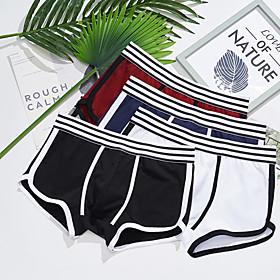 Men's Sports Underwear Boxer Brief Trunks 1pc Stripe-Trim Cotton Sports Shorts Underwear Shorts Bottoms Running Walking Jogging Training Breathable Soft Fashio