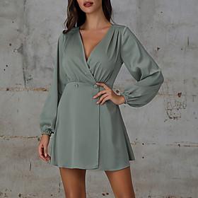 Women's A-Line Dress Short Mini Dress - Long Sleeve Solid Color Patchwork Button Spring Summer V Neck Elegant Vintage Puff Sleeve Satin 2020 Light Green S M L
