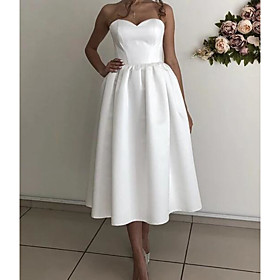 A-Line Elegant Vintage Homecoming Cocktail Party Dress Sweetheart Neckline Sleeveless Ankle Length Satin with Pleats 2020
