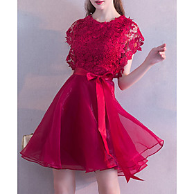 A-Line Elegant Red Wedding Guest Cocktail Party Dress Jewel Neck Short Sleeve Short / Mini Lace with Lace Insert 2020