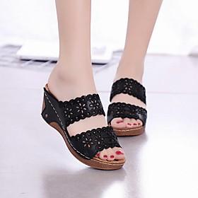 Women's Sandals / Slippers  Flip-Flops Wedge Sandals Summer Wedge Heel Open Toe Daily PU White / Black / Red