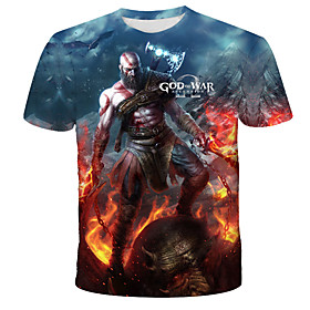 Men's 3D Cartoon Wolf Print T-shirt Street chic Exaggerated Daily Holiday Round Neck Rainbow / Short Sleeve