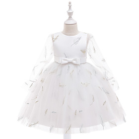 Kids Girls' Cute Butterfly Solid Colored Bow Embroidered Mesh Long Sleeve Knee-length Dress White