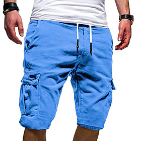 Men's Basic Military Plus Size Daily Weekend Slim Shorts Tactical Cargo Pants Solid Colored Sporty Drawstring Outdoor Summer White Black Blue US32 / UK32 / EU4