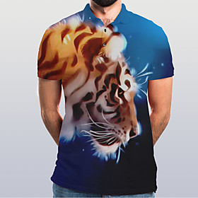 Men's Graphic Animal Tiger Slim Polo Basic Elegant Daily Going out Rainbow / Short Sleeve