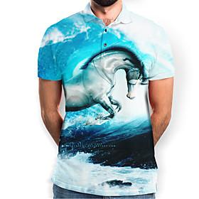 Men's Graphic Animal Horse Slim Polo Basic Elegant Daily Going out Blue / Short Sleeve