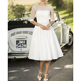 A-Line Wedding Dresses Jewel Neck Tea Length Satin Tulle Half Sleeve Vintage Sexy Wedding Dress in Color with Sashes / Ribbons Pleats 2020