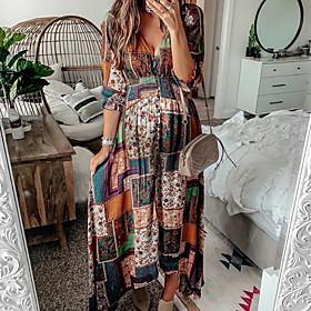 Women's Maxi Sheath Dress - Long Sleeve Geometric Spring V Neck Elegant Slim 2020 Brown S M L XL XXL XXXL
