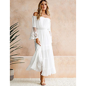 Women's A-Line Dress Maxi long Dress - Long Sleeve Solid Color Off Shoulder White S M L XL