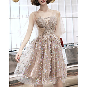 A-Line Glittering Cut Out Party Wear Cocktail Party Dress V Neck Half Sleeve Short / Mini Nylon with Sequin 2020