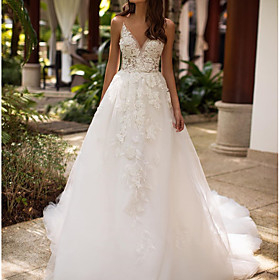 A-Line Wedding Dresses V Neck Court Train Lace Tulle Sleeveless Formal Sexy with Appliques 2020
