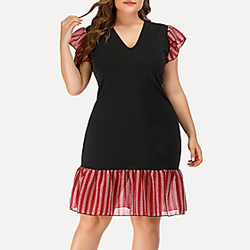 Women's Plus Size Bodycon Dress - Short Sleeves Striped Solid Color Ruffle Summer V Neck Casual Street chic Party Going out Belt Not Included 2020 Black L XL X