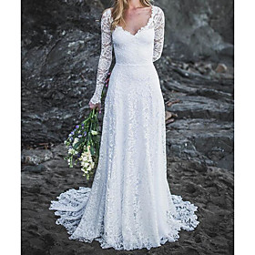 A-Line Wedding Dresses V Neck Sweep / Brush Train Lace Long Sleeve Country Sexy Backless with Lace 2020