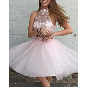 Two Piece Beautiful Back Sexy Homecoming Cocktail Party Dress Halter Neck Sleeveless Short / Mini Tulle with Beading Sequin 2020