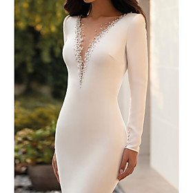 Mermaid / Trumpet Wedding Dresses Jewel Neck Court Train Satin Long Sleeve Sexy See-Through with Beading 2020