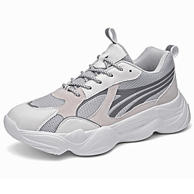 Men's Summer Sporty Athletic Trainers / Athletic Shoes Running Shoes Mesh / PU Non-slipping Black and White / Black / Gray